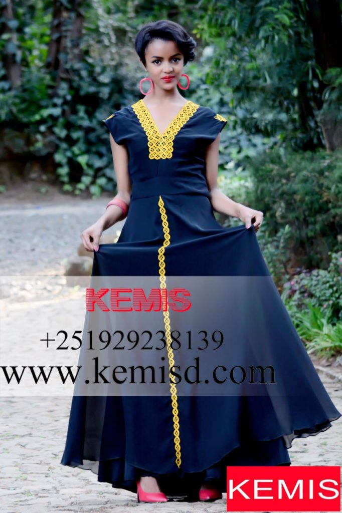 HABESHA black with golden hand embriodery DRESS