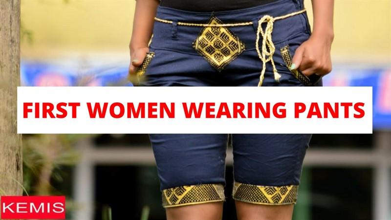 first women wearing pants